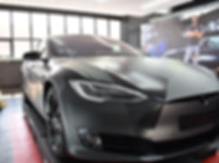 Carwrap Tesla Model S 3M matte Silver WrapAndGo flasher