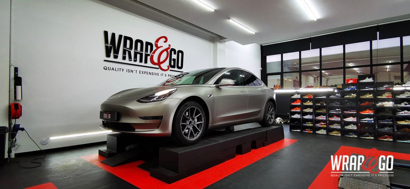 Tesla Model 3 3M Matte Grey Metallic Car