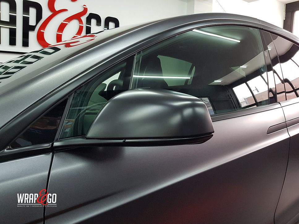 Carwrap Tesla Model X 3M Satin Grey WrapAndGo Mirror
