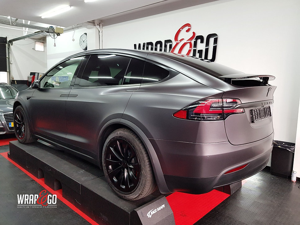 Carwrap Tesla Model X 3M Satin Grey WrapAndGo