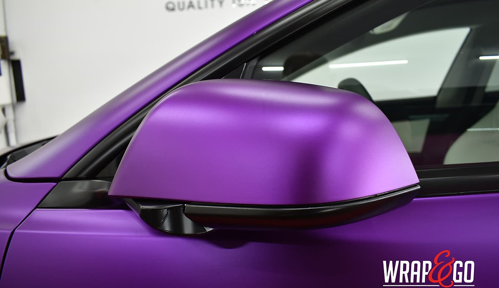 Tesla Model 3 Carwrap Satin Chrome Purple Mirror