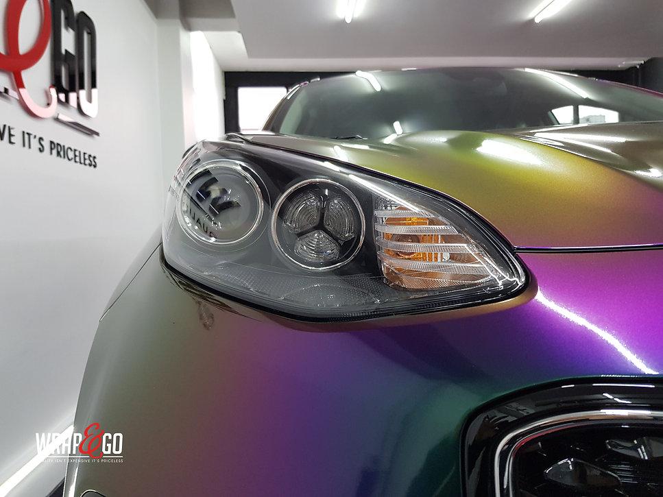 Kia Sportage Carwrap Avery ColorFlow door WrapAndGo koplamp