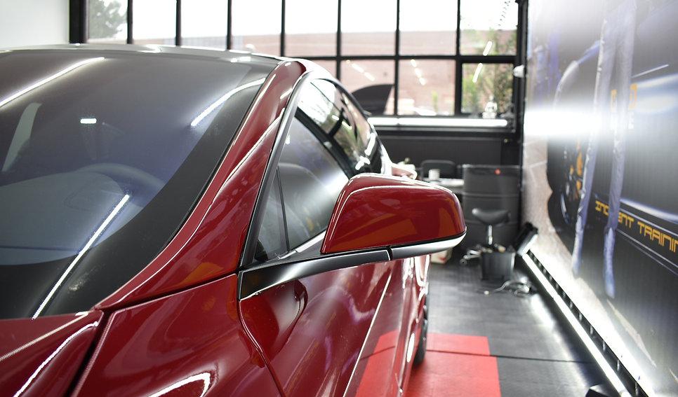 Tesla Model S Carwrap Satin Black Side Mirror
