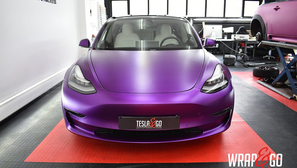 Tesla Model 3 Carwrap Satin Chrome Purple Front