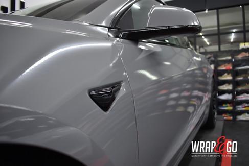 Tesla Model 3 Nardo Grey Wrap Chrome Del