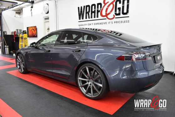Tesla Model S Chrome Delete Satin Black