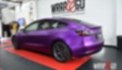 Tesla Model 3 Carwrap Satin Chrome Purple