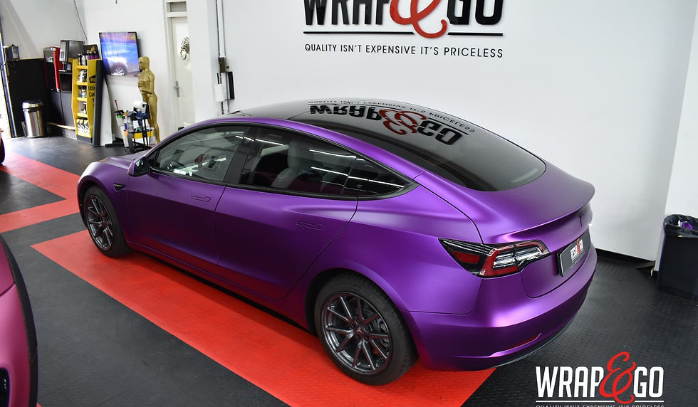 Tesla Model 3 Carwrap Satin Chrome Purple