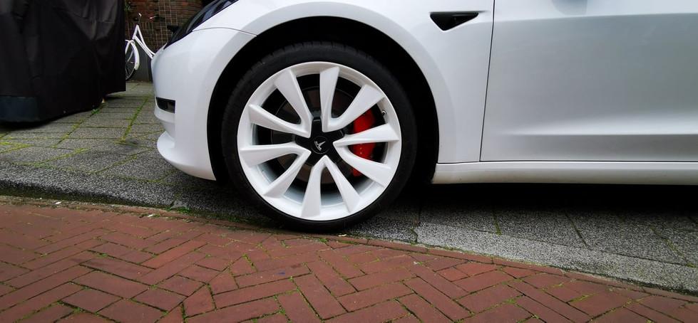 Tesla Model 3 Wit Witte velgen