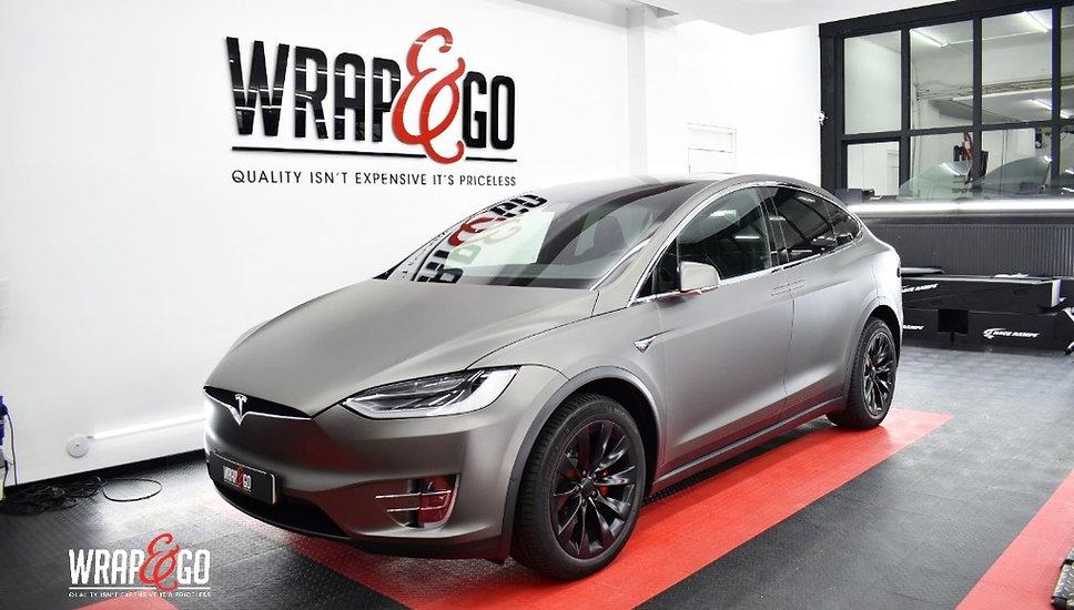 Tesla Model X 3M Matte Charcoal Carwrap voorkant