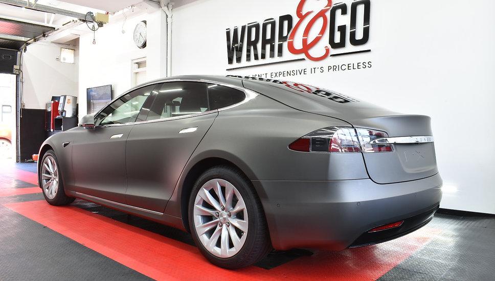 Back Carwrap Tesla Model 3M Matte Charcoal WrapAndGo