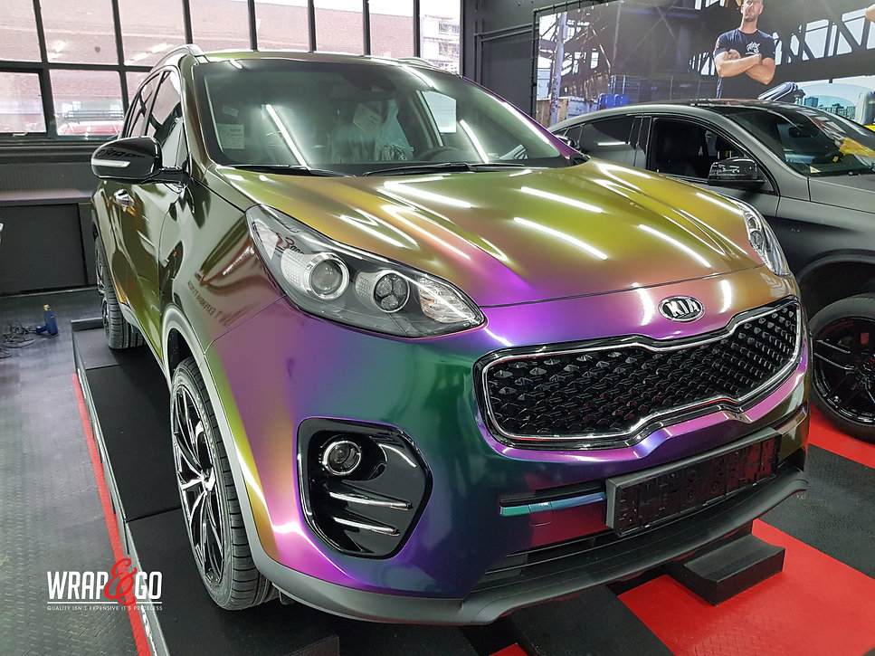 Kia Sportage Carwrap Avery ColorFlow door WrapAndGo links voor