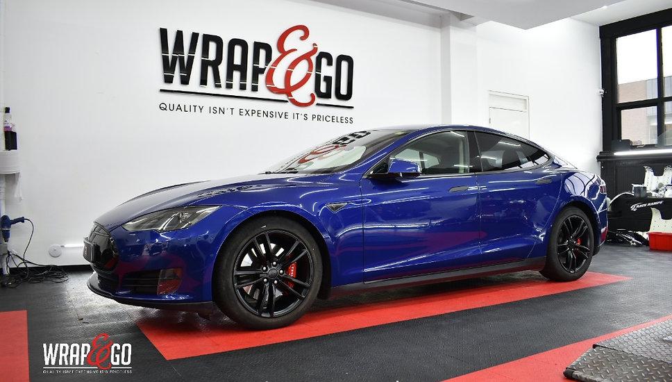 Tesla Model S Carwrap Autowrap Zijkant