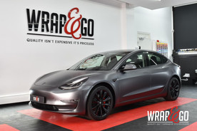 Tesla Model 3 Satin Dark Grey Auto Wrap