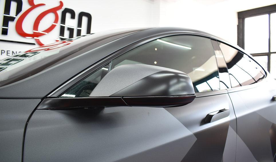 Carwrap Tesla Model S 3M Matte Silver WrapAndGo mirror