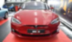 Tesla Model S Carwrap Satin Black Front