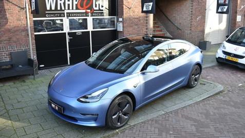 Tesla Model 3 3M Satin Ice Blue Metallic Car Wrap