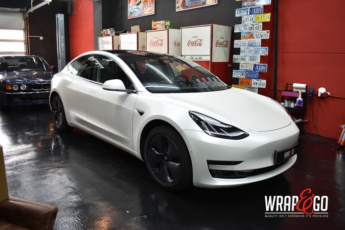 Tesla Model 3 3M Satin Pearl White Car W