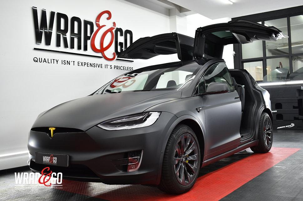 Tesla Model X 3M Matte Deep Black Wrap doors Open