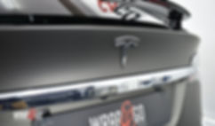 Tesla Model X 3M Matte Charcoal Carwrap Logo Rear
