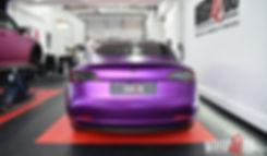 Tesla Model 3 Carwrap Satin Chrome Purple Back
