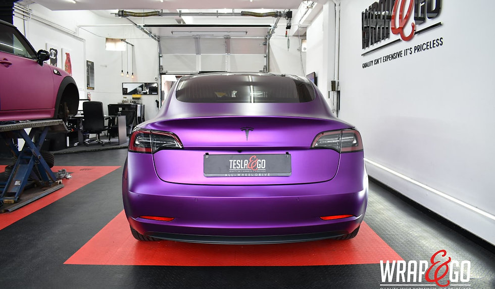 Tesla Model 3 Carwrap Satin Chrome Purple Back