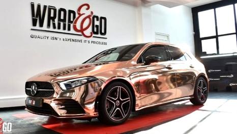 Mercedes Chrome Car Wrap Rose Gold_edite