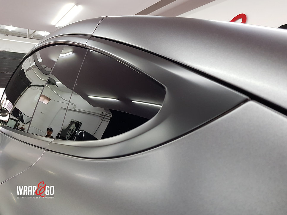 Window Frame Carwrap Tesla Model X 3M Satin Grey WrapAndGo
