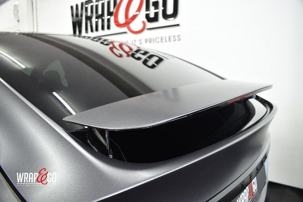 Tesla Model X Carwrap Dark Satin Grey Spoiler