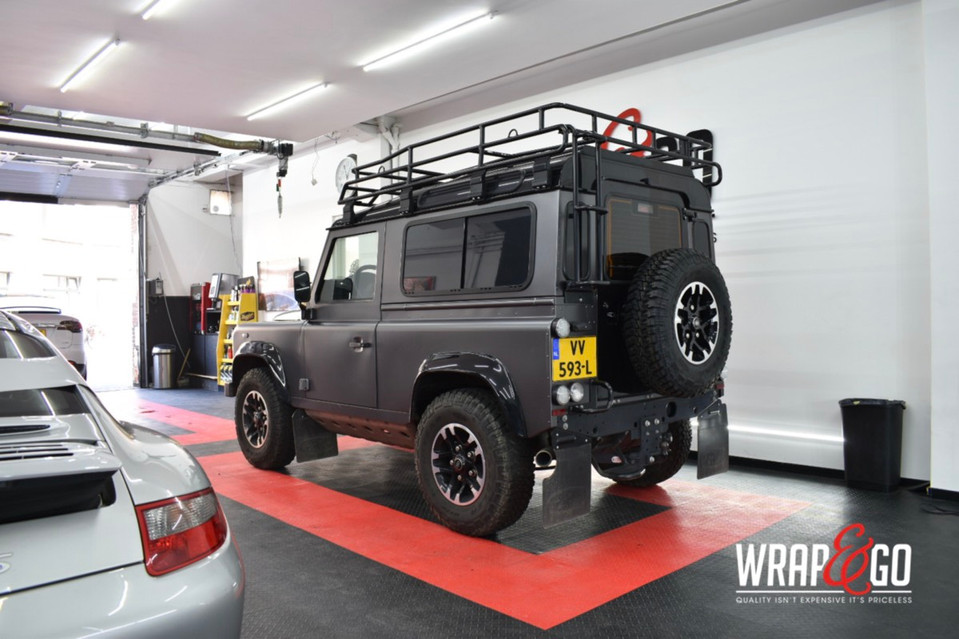 Land Rover Defender Car Wrap Satin Dark