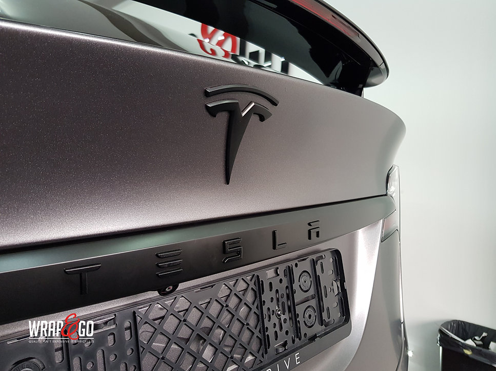 Carwrap Tesla Model X 3M Satin Grey WrapAndGo Back