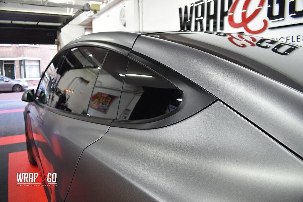 Tesla Model X Carwrap Satin Black Raamlijsten