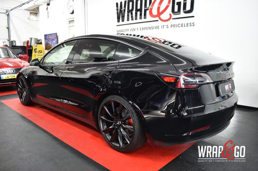 Tesla Model 3 Chrome Delete Satin Black.
