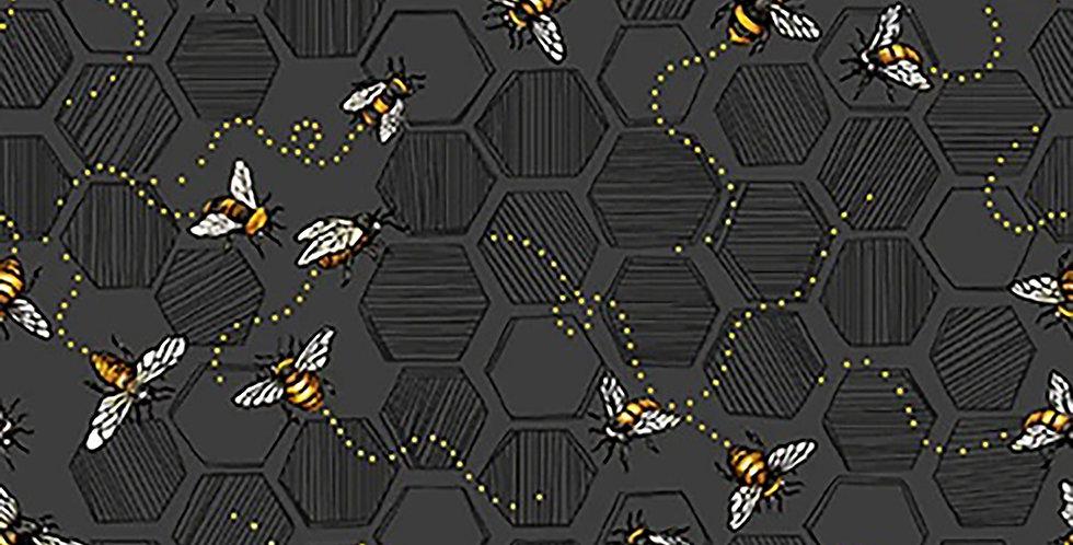 Honeycomb & Bees Charcoal Bee Kind