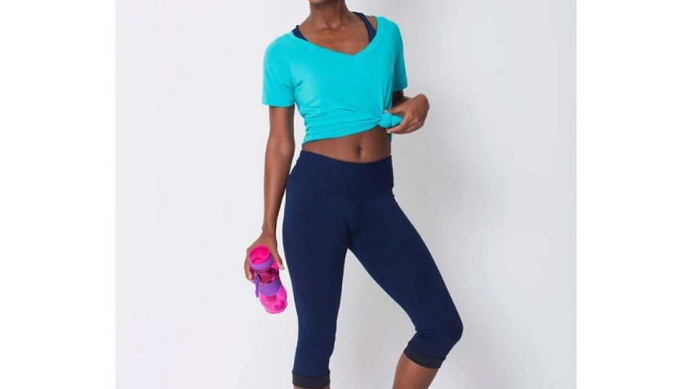 Capri Navy - Compression Legging