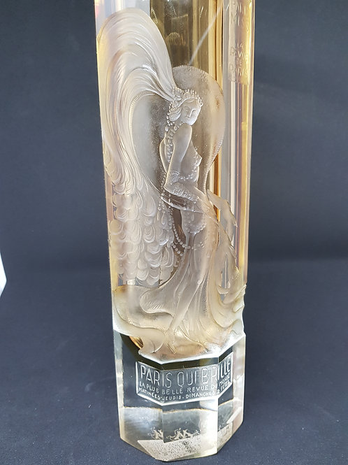 Dedicated to Mistinguett, bohemian engraved, octagonal glass