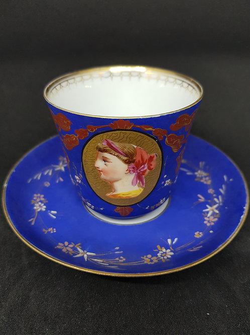 Paris 1800s, 11 miniatures painting, coffee set for six