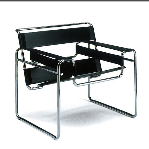 1/4 Wassily black leather chair 1970-80
