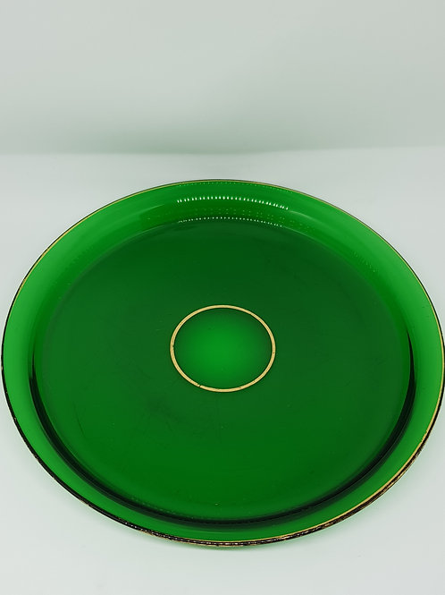 Baccarat 1890s/1900s, green crystal plate