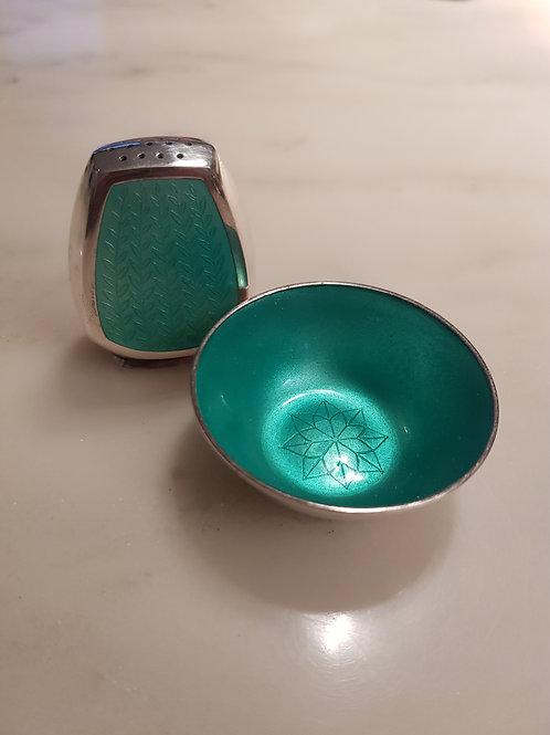 A. Michelsen enameled salt and pepper set