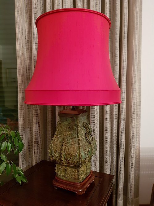 Chinese bronze lamp with red silk lampshade early twentieth century