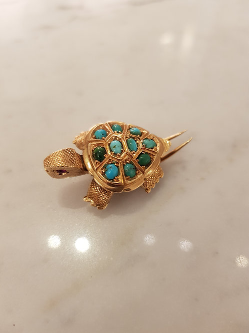 Turtle brooch, gold and turquoise