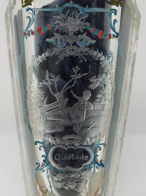 """Moser 1930s glass, engraved in the 1940s """"Gaieté"""", """"Quiètude""""."""
