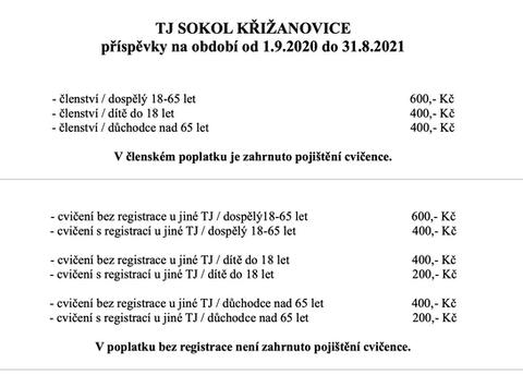Poplatky pro školní rok 20/21
