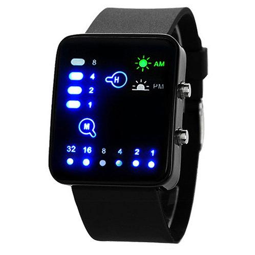 Binary AM/PM Silicone LED Watch