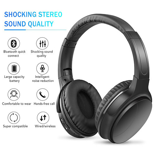 Passive Noise Reducing Headphones Bluetooth Over the Ear Headphones With Mic