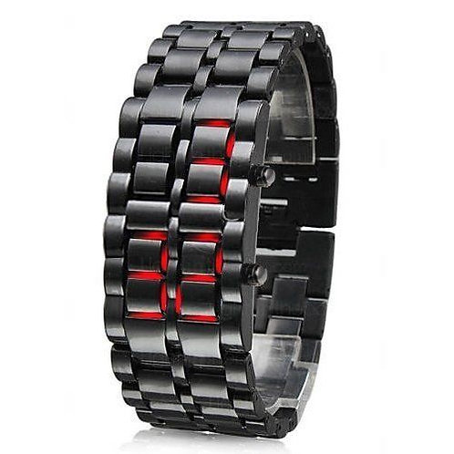 Numeric Gun Metal Stainless LED Watch