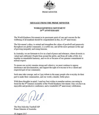 World Kindness Movement 20th Anniversary Message From The Prime Minster of Australia