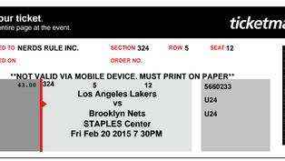 NERDS RULE INC. LA Lakers Game