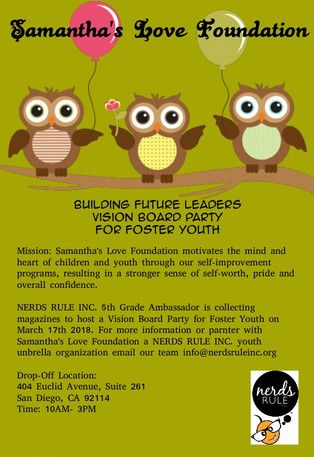 Foster Care Vision Board Party Hosted by NERDS RULE INC. 5th grade Ambassador